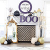 DIY Antiqued Halloween Mirror and Halloween Mantel