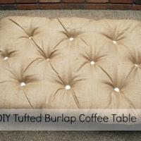 DIY Tufted Burlap Ottoman