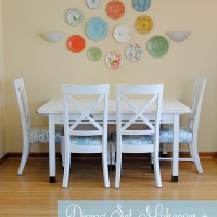 Dining Set Makeover + Plastic Plate Wall