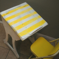 Sunny Yellow Striped School Desk