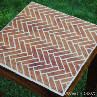DIY Herringbone Stenciled Table