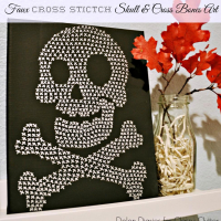 Faux Cross-Stitch Skull and Crossbones Halloween Art