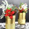 Gold Glittered Mason Jar Vases - #MadeWithMichaels