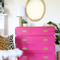 Hot Pink Painted Campaign Dresser Makeover