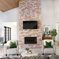 Modern Ranch Reno: How to Re-Grout a Brick Fireplace