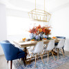 Blue and Orange Thanksgiving Tablescape