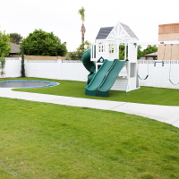 Modern Ranch House: Backyard phase 2- Painted Playset and New Pool Umbrellas