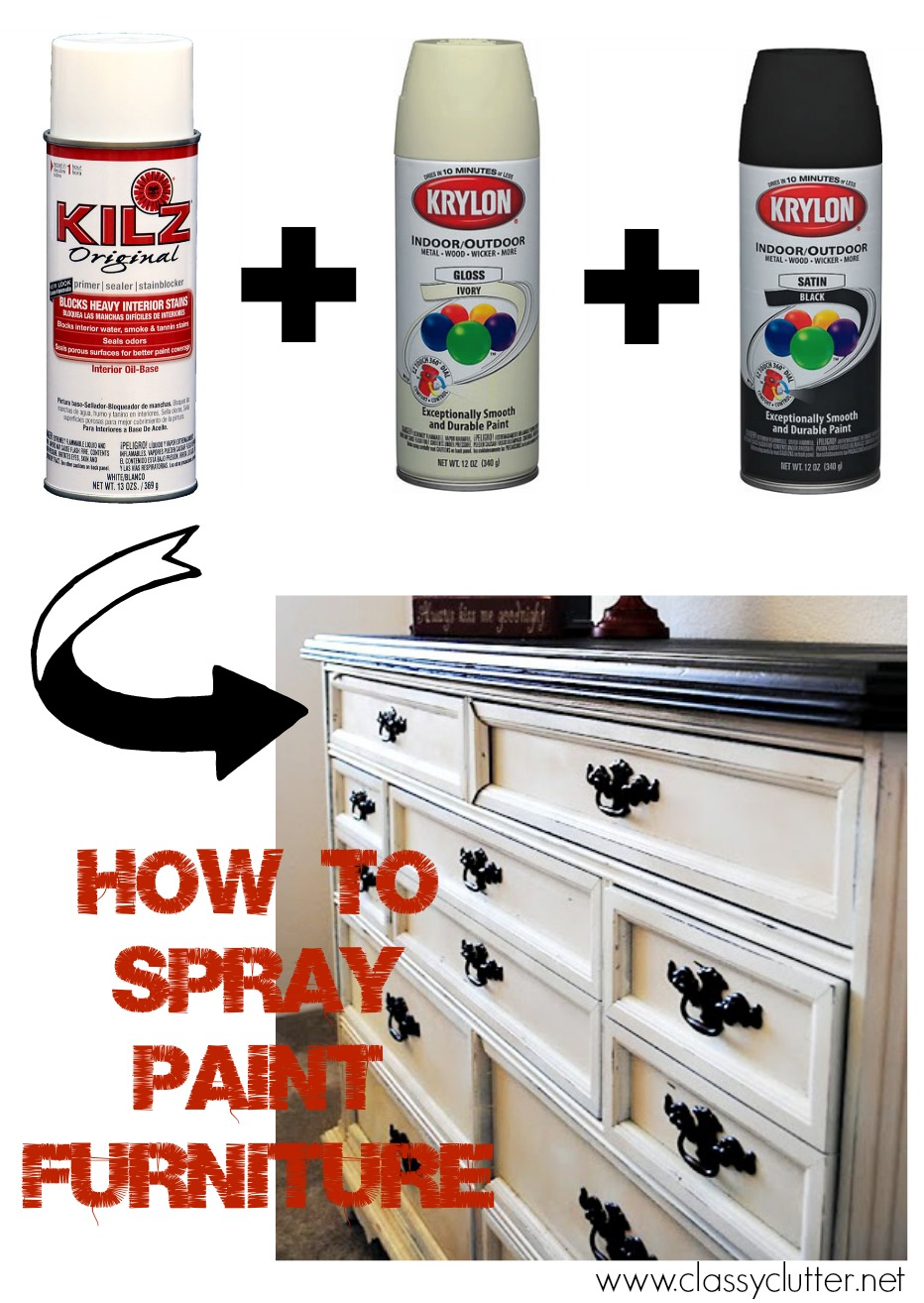 how to spray paint furniture classy clutter. Black Bedroom Furniture Sets. Home Design Ideas