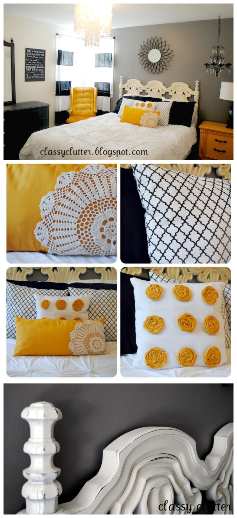 Super Cute Black and Yellow Bedroom Makeover   www.classyclutter.net