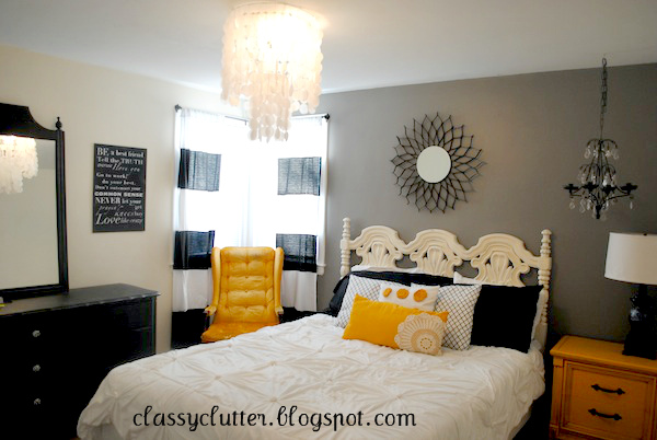 Black and yellow master bedroom makeover classy clutter for Bedroom ideas yellow and grey