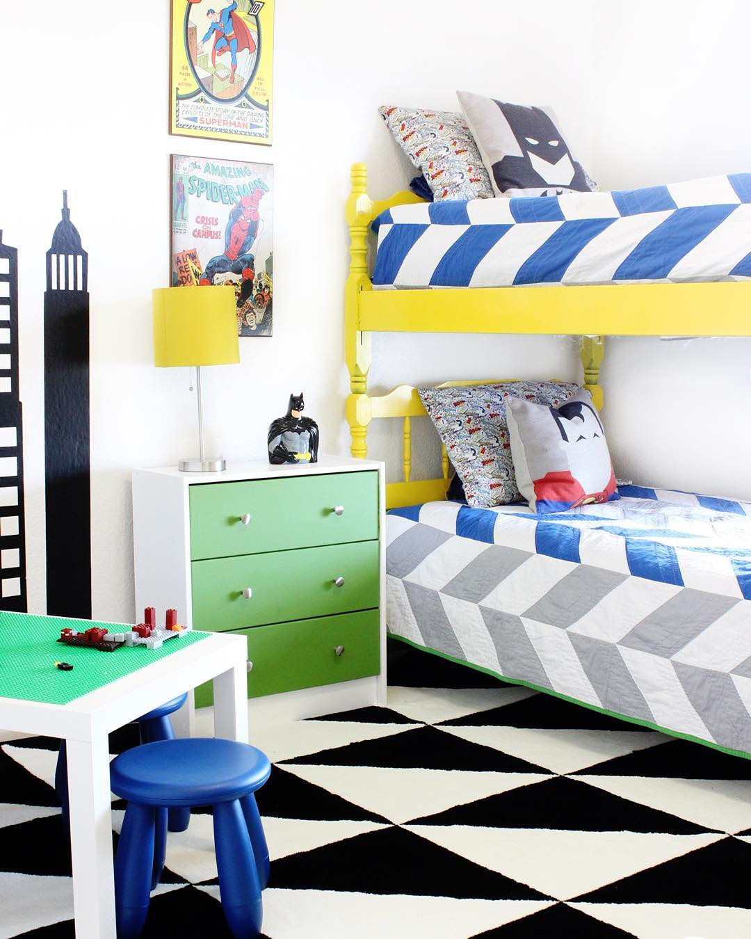 Since we've moved, I revamped the superhero room and my kids are loving it! Don't worry, the top bunk has a rail, I took it off for pictures! #safetyfirst Check out the full reveal on the blog today! #superhero #decorforkids #abmathome #abmlifeiscolorful #acolorstory