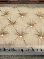 DIY Tufted Burlap Coffee Table
