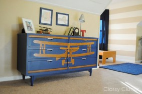 How to stencil a design on furniture {Biplane Dresser Makeover}