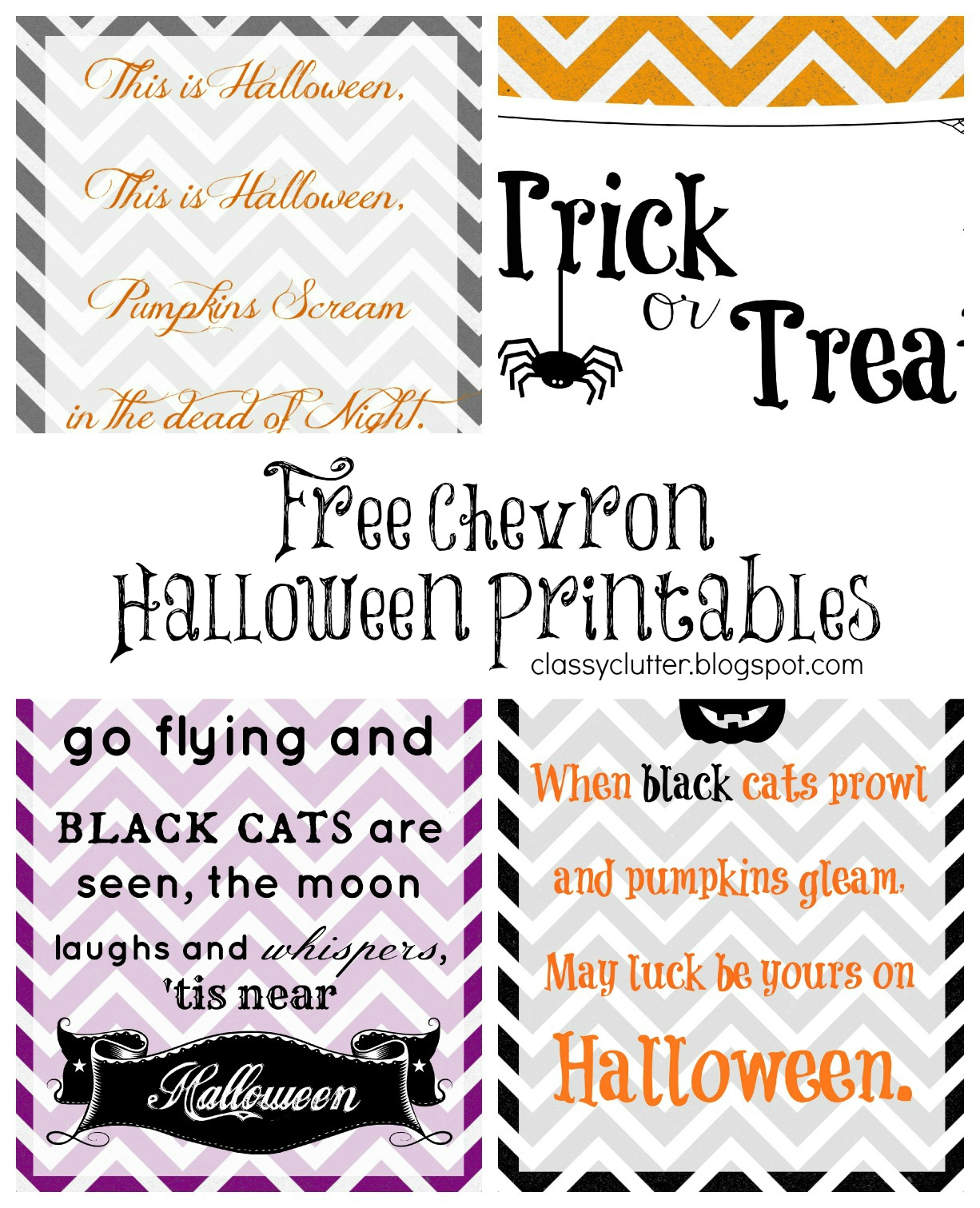 Chevron Halloween Printables