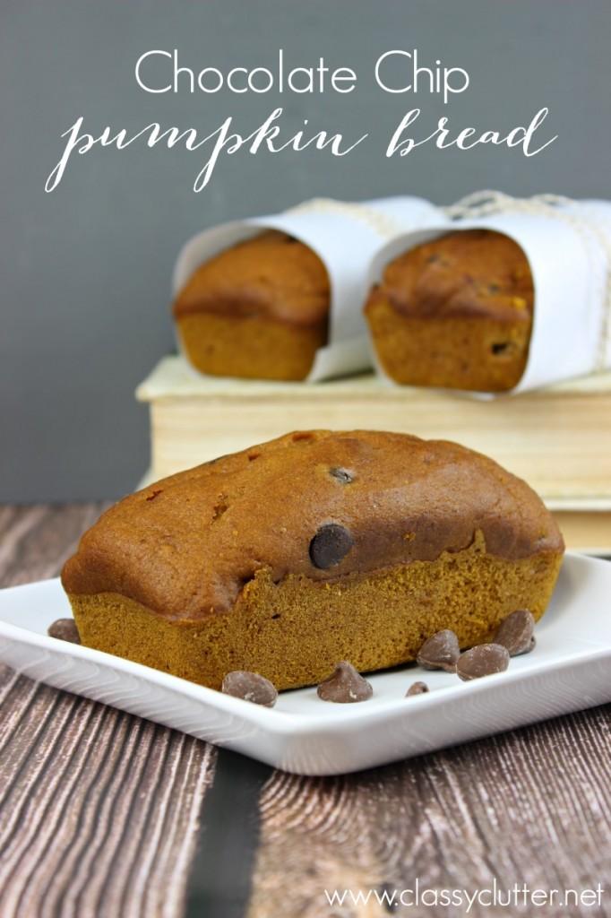 Chocolate Chip Pumpkin Bread - www.classyclutter.net