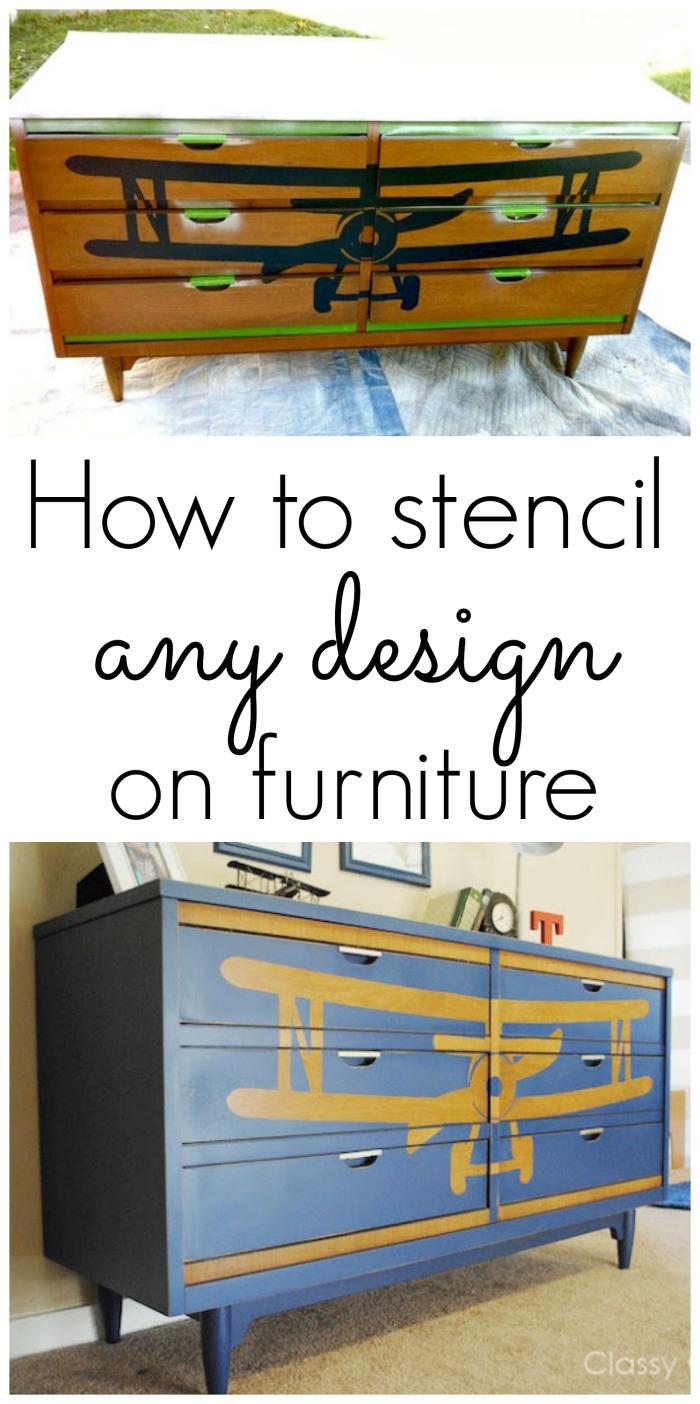 How To Stencil A Design On Furniture Biplane Dresser