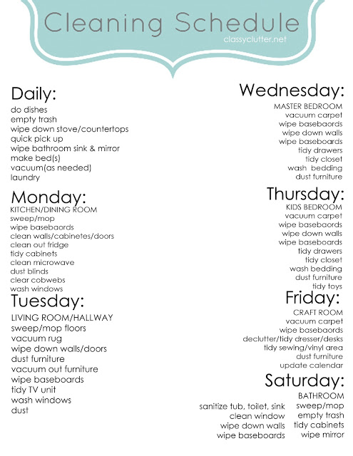 Satisfactory image pertaining to printable weekly cleaning schedule