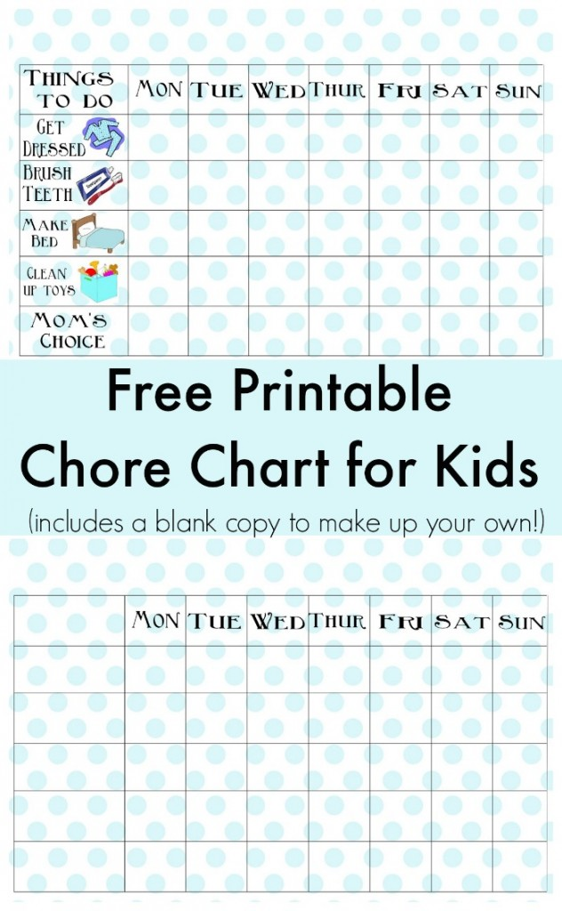 Bright image with regard to printable chore charts