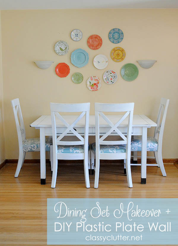 dining room table with bench against wall. My friend here in New York asked me for some help on redoing her existing dining  table and decorating the wall it sits against You know I jumped at Dining Set Makeover Plastic Plate Wall Classy Clutter