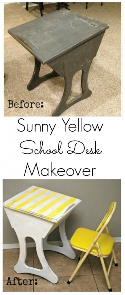 Sunny Yellow School Desk Makeover