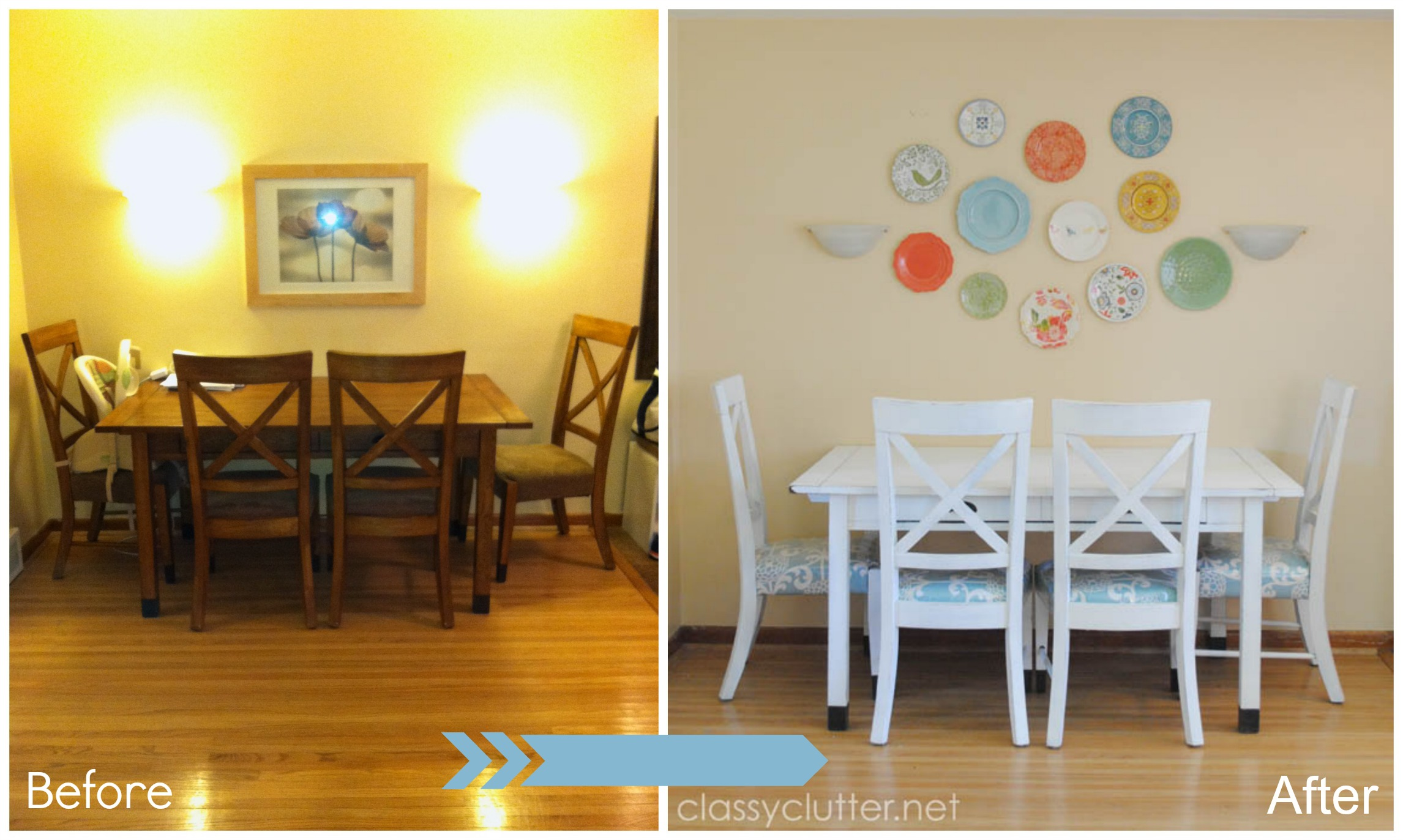 dining set makeover plastic plate wall classy clutter