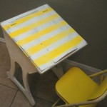 yellow striped desk