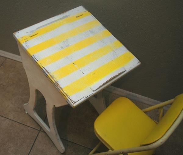 yellow striped desk