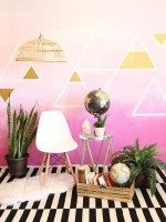Pink Ombré Wall with Triangle Detail