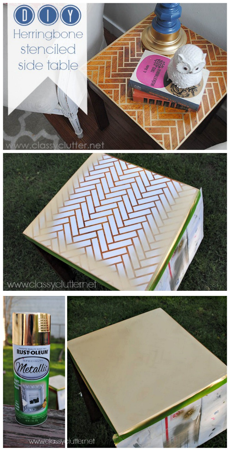 DIY Herringbone Side Table Tutorial - www.classyclutter.net
