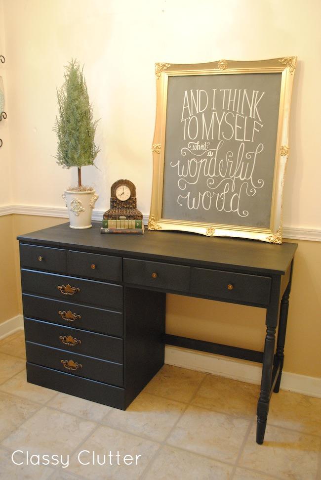 Classic Black Desk Makeover Classy Clutter