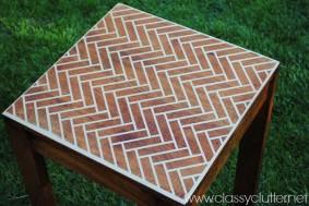DIY Herringbone Stenciled Table