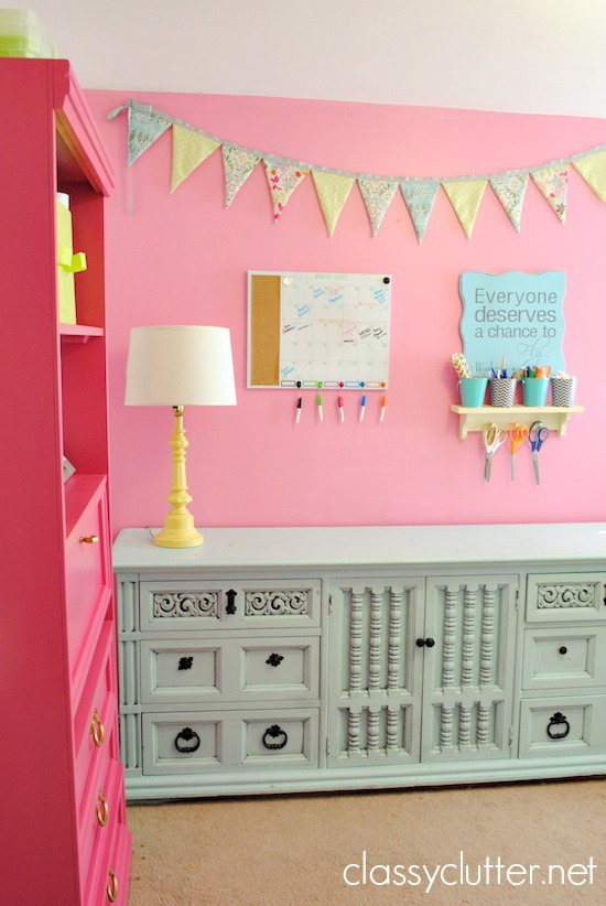 Bright pink craft room