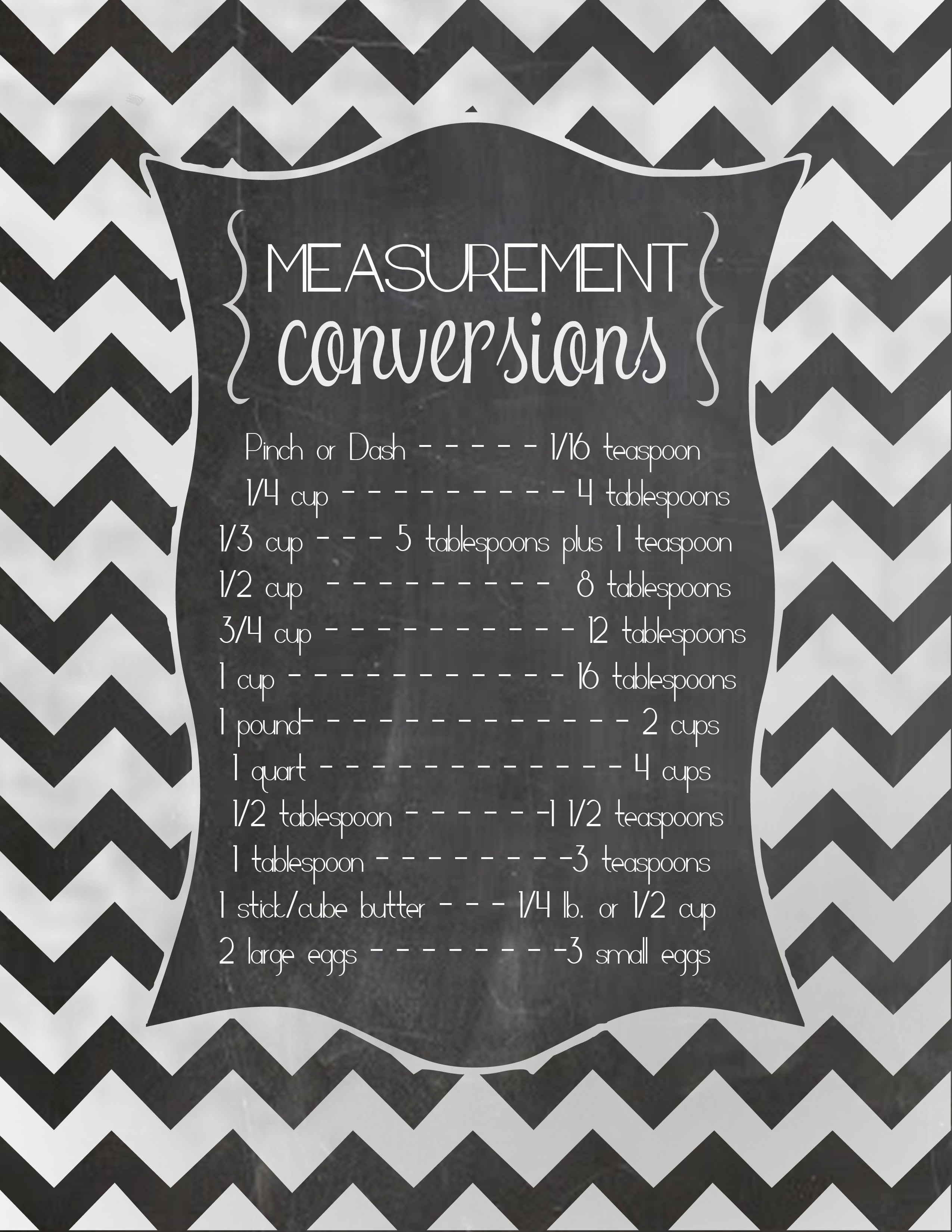 FREE Measurement Conversion Chart Printable and the best ...