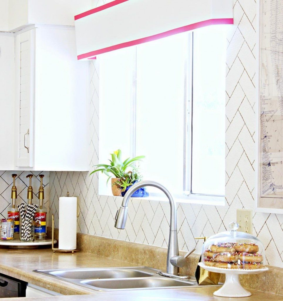 Yay!!! Our next tutorial is up on @abeautifulmess! Head over to abeautifulmess.com to see the tutorial for this DIY Faux Herringbone Backsplash we did! Make sure you're following them on Instagram too! Their feed is #!
