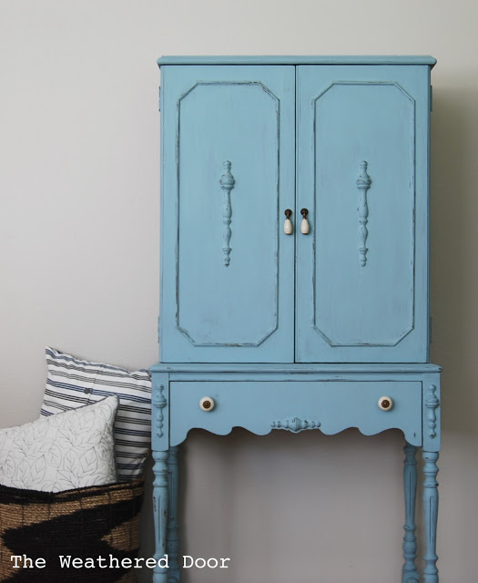 Blue Milk Paint Hutch-Cabinet WD 1