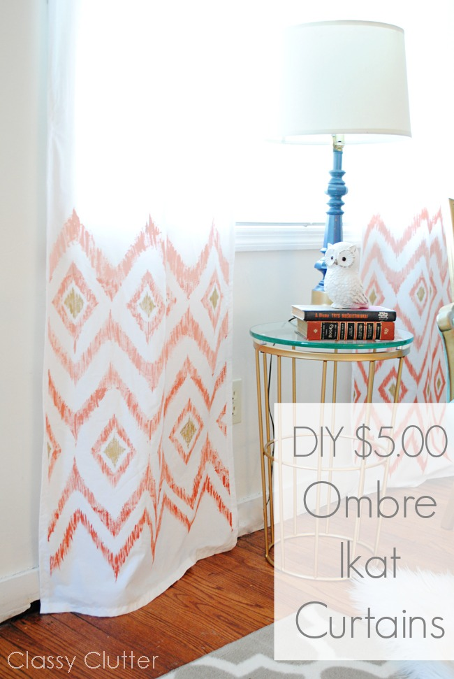 Diy 5 Ombre Ikat Curtains Classy Clutter