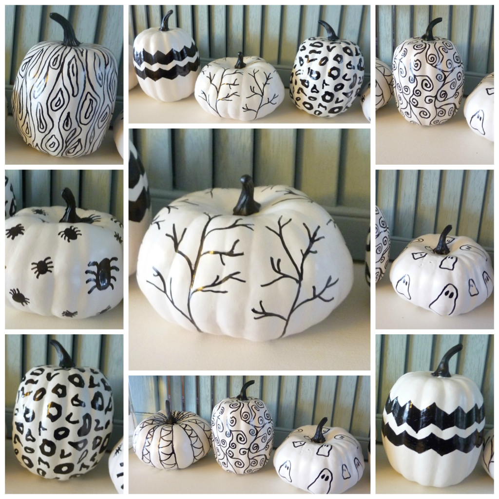 black and white hand sketched sharpie pumpkins at