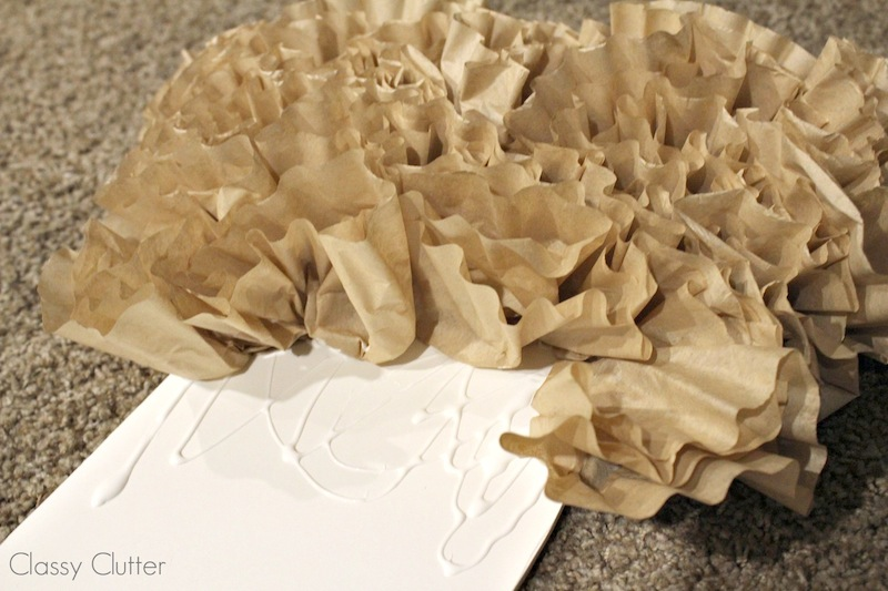 Apply coffee filters to letters