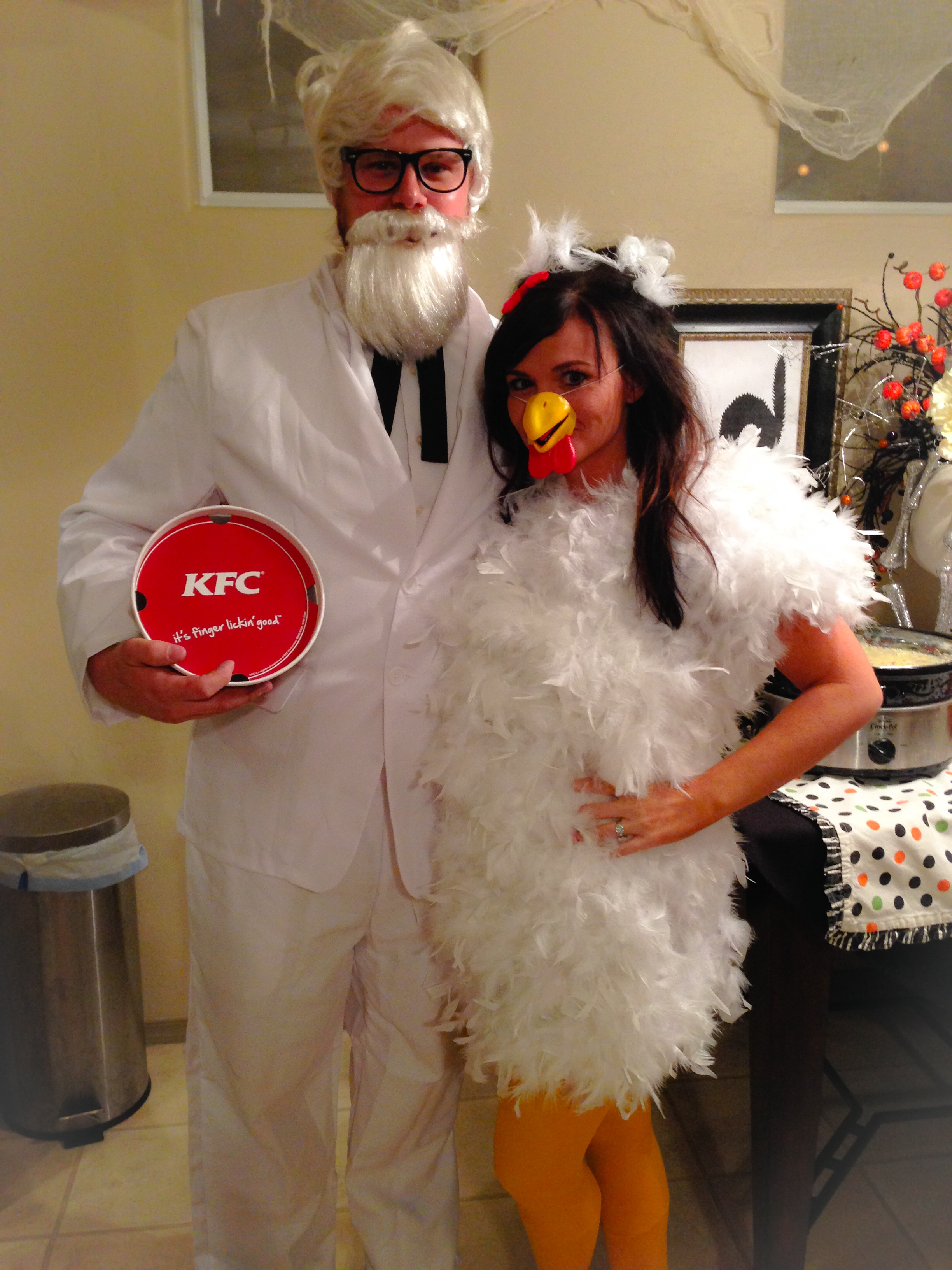 one party we were colonel sanders and the chicken which i bought his costumes from a random costume store online and i made the chicken costume with a - Halloween Winning Costumes