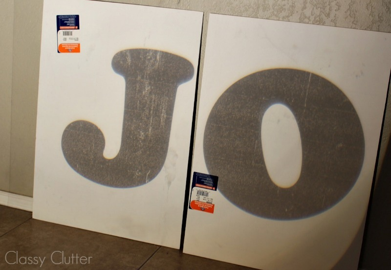 trace letters onto poster board