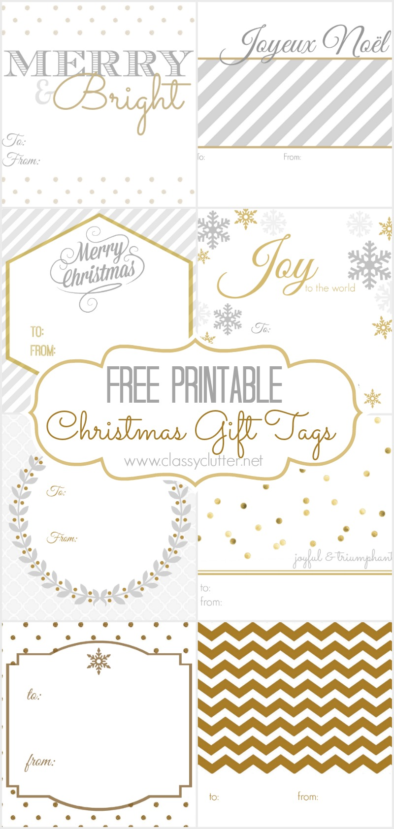 FREE Christmas Gift Tags - 8 printable designs - Classy Clutter