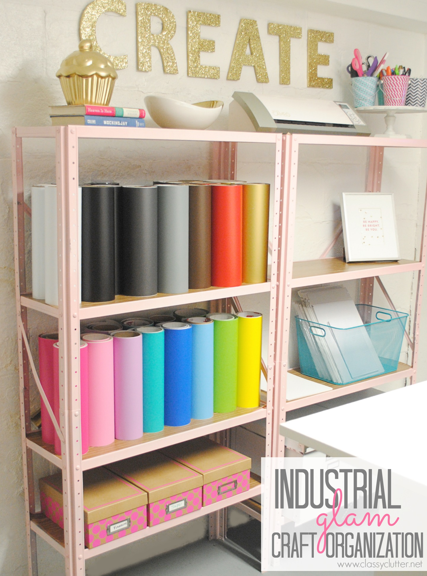 Inexpensive craft room shelving classy clutter Homemade craft storage ideas