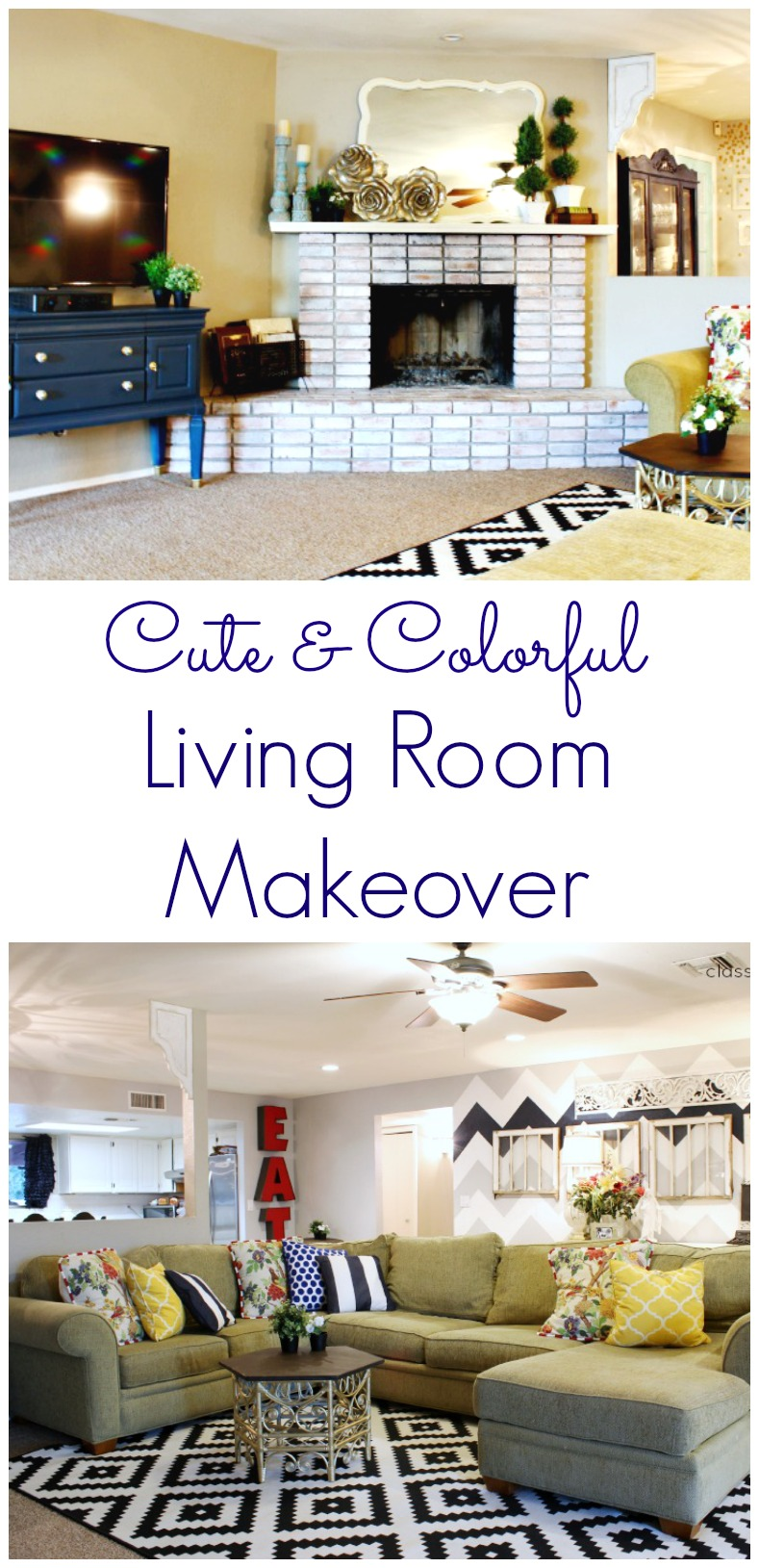 Cute and Colorful Living Room Makeover from Classy Clutter