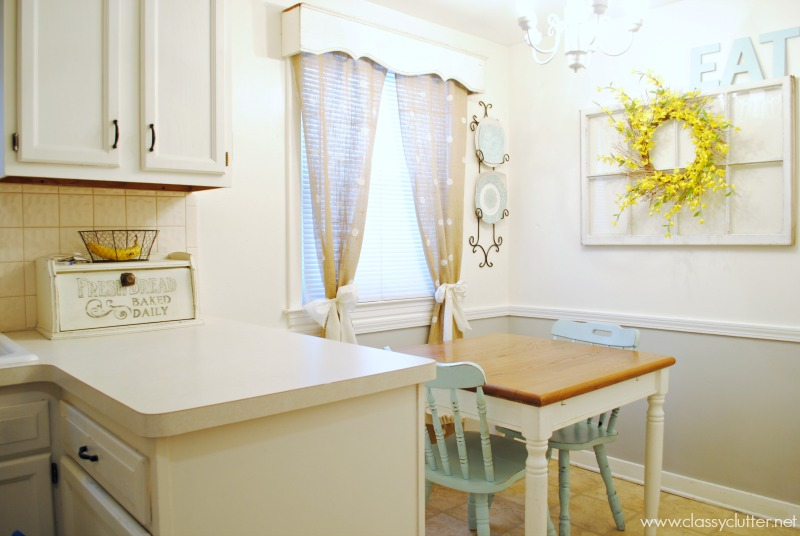 Dining Room with Burlap Polka Dot Curtains