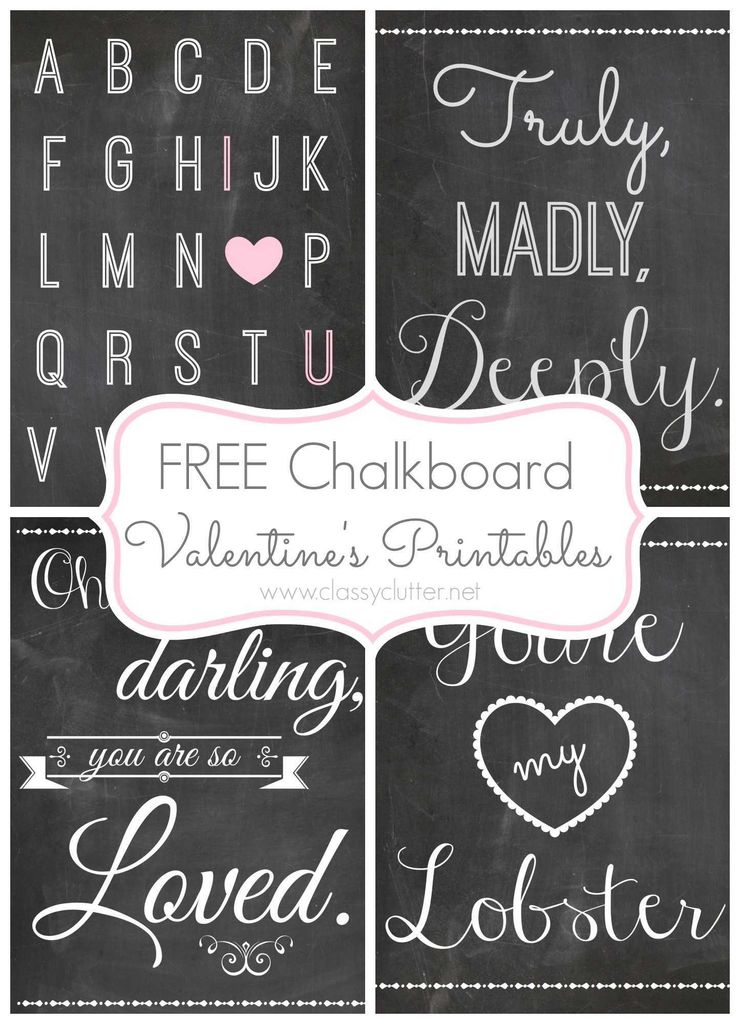 picture regarding Chalkboard Printable named Cost-free Valentines Working day Printables