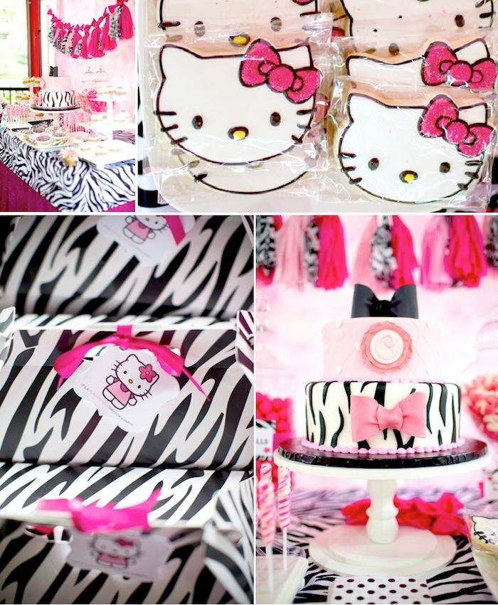 Hello Kitty Pink Zebra Themed Birthday Party Via