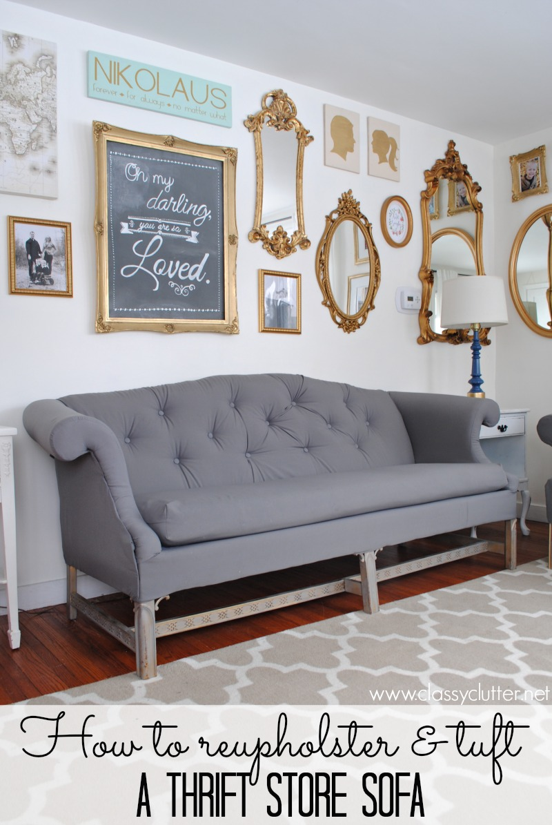 How To Reupholster And Tuft A Thrift Store Sofa