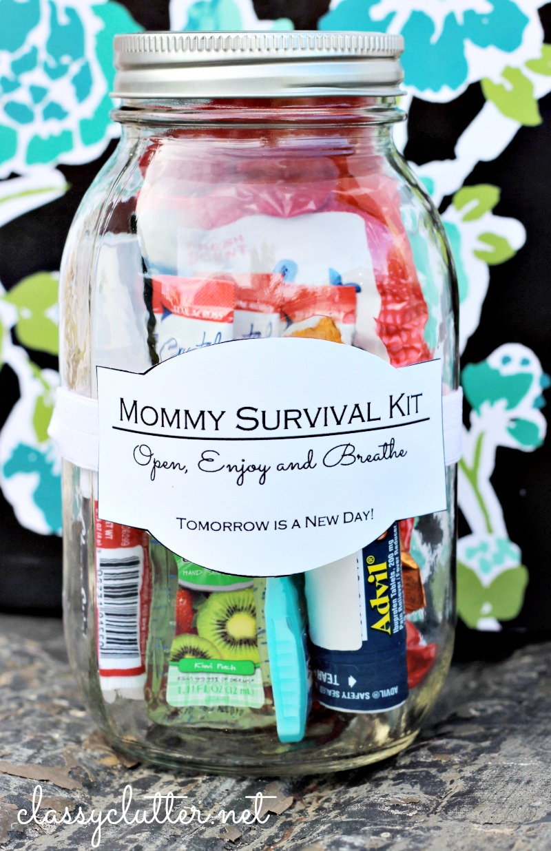 mommy survival kit in a jar classy clutter