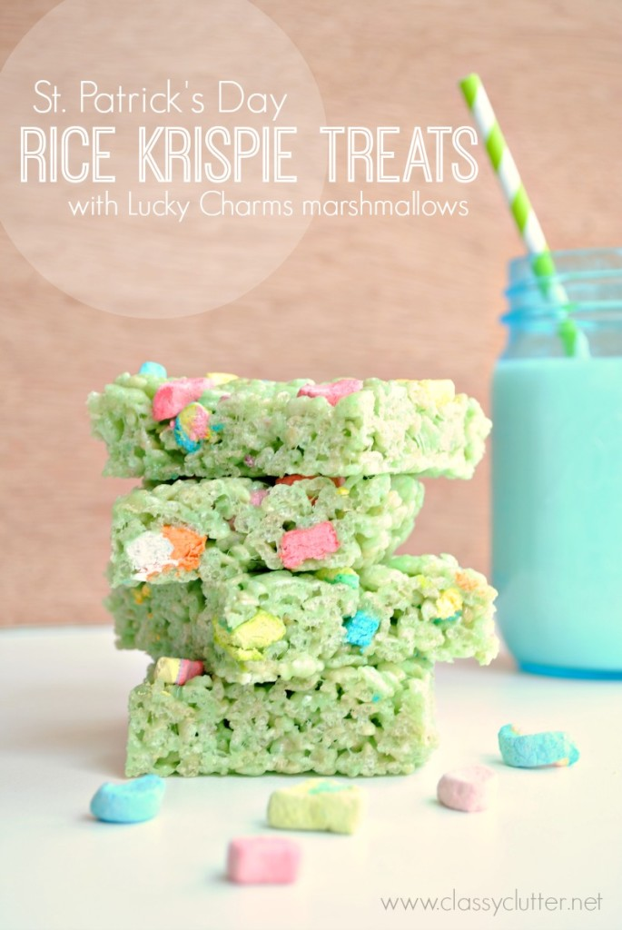 Rice Krispie Treats with Lucky Charms Marshmallows | Delicious St. Patrick's Day Recipes | Desserts & Treats