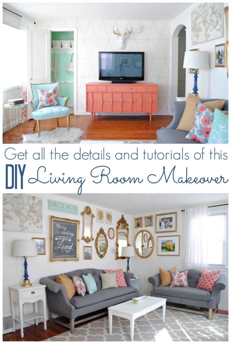 Coral and mint living room reveal classy clutter for Room makeover